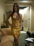 Jackie Guerrido Gold Dress Candid {Cleavage}